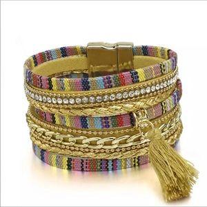 BOGO SALE Gold Tweed Wrap Bracelet w/ Tassel